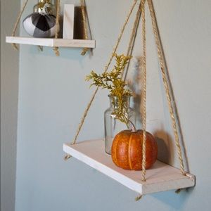 Hanging shelf's set of (2) white or stained